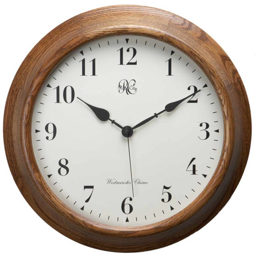 River City Clocks Oak Post Office Chiming Wall Clock 7100-O