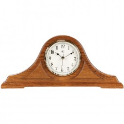 Radio-controlled Tambour Mantel Clock with Oak Finish