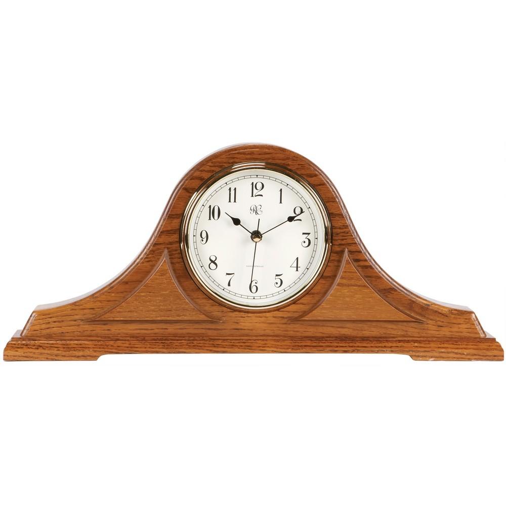 Radio Controlled Tambour Mantel Clock With Oak Finish