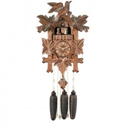 Eight Day Musical Cuckoo Clock with Dancers - Five Hand-carved Birds and Maple Leaves - 16 Inches Tall