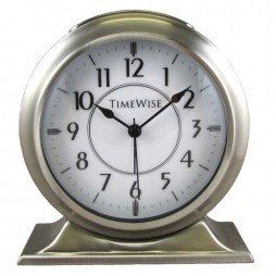 Alarm Clock - Collegiate Metal Alarm Clock Brushed Nickel