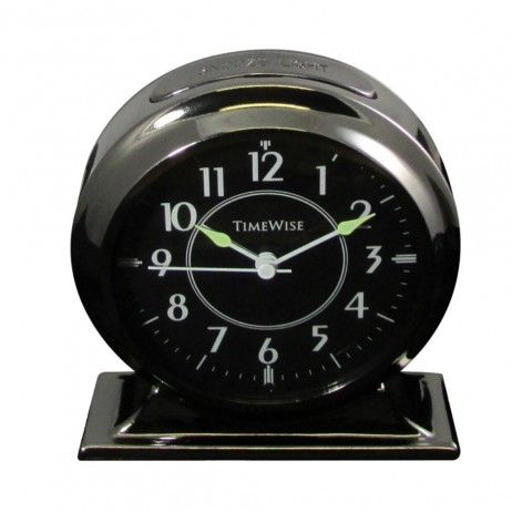 Alarm Clock - Collegiate Metal Alarm Clock Gunmetal Black