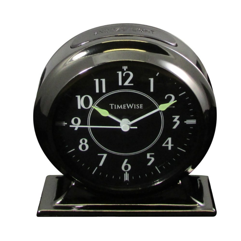 Bedside Alarm Clock Collegiate Gunmetal Black