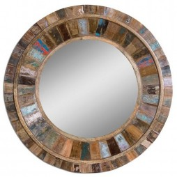 Jeremiah Round Wood Mirror 04017