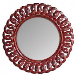 Sassia Red Round Mirror 05029