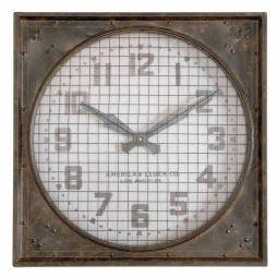 Uttermost Warehouse Wall Clock w/ Grill 06083