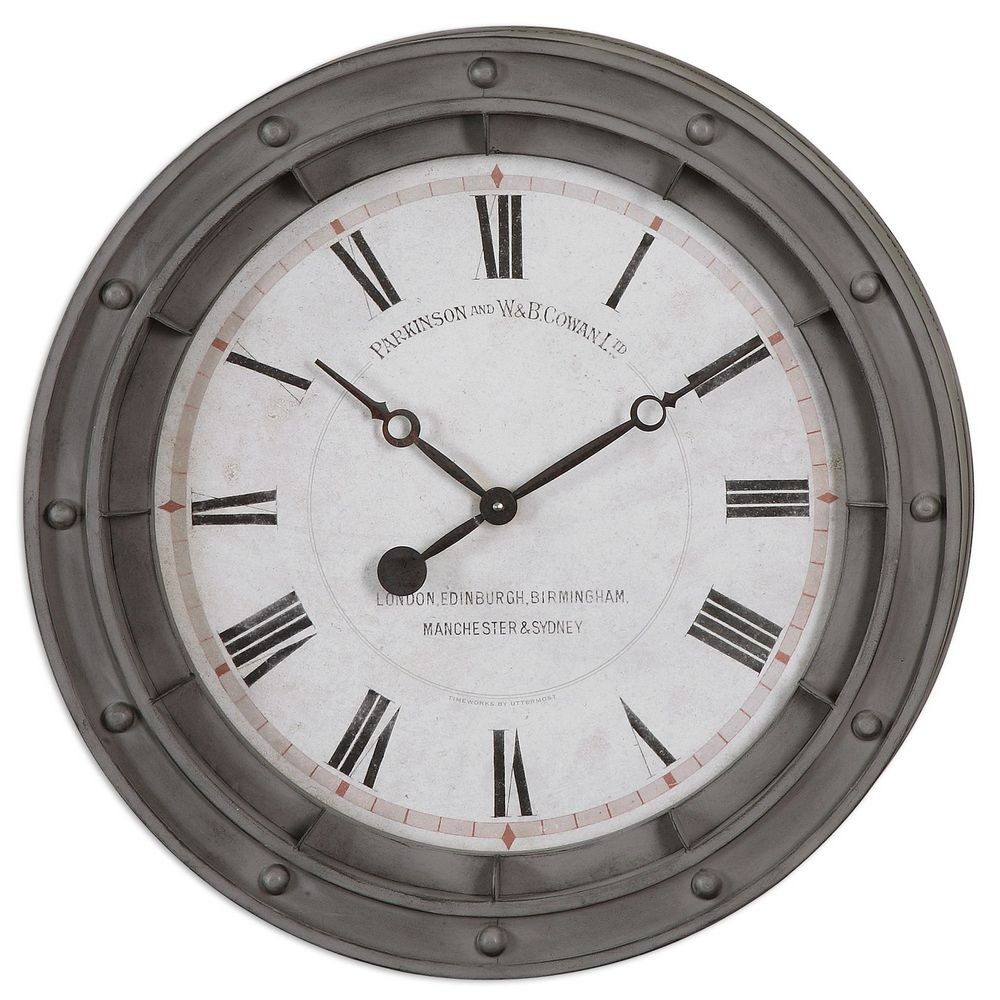 Porthole 24 Inch Gray Metal Wall Clock