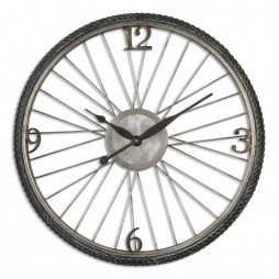 Spokes Aged Wall Clock 06426