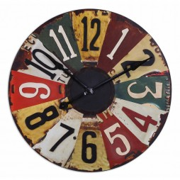 "Vintage License Plates 29"" Wall Clock 06675"