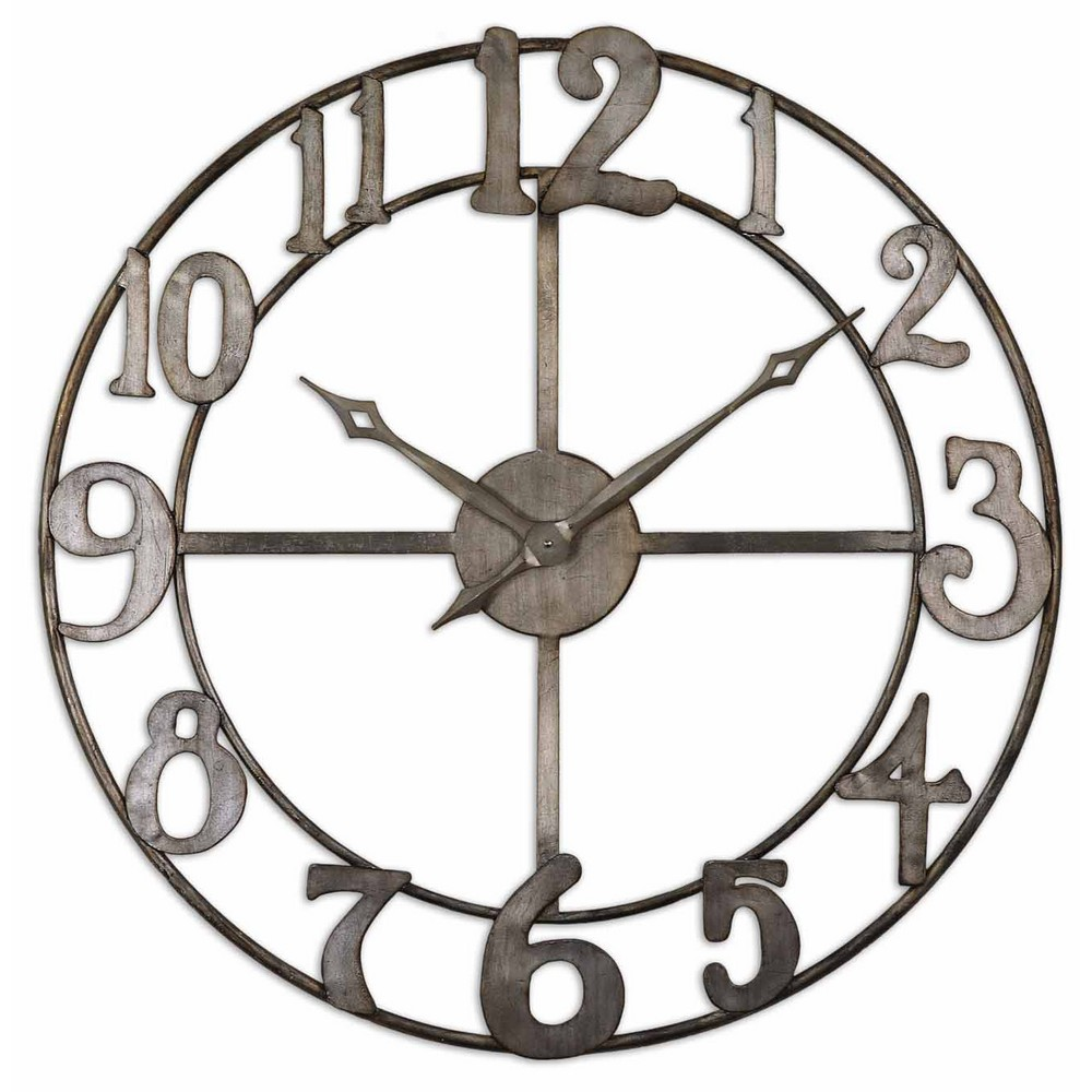 uttermost delevan large wall clock with open design 06681 With best brand of paint for kitchen cabinets with metal wall clock art