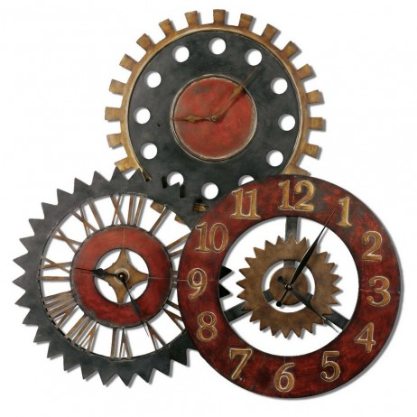 Uttermost Rusty Movements Wall Clock Collage - Display Three Different Time Zones 06762