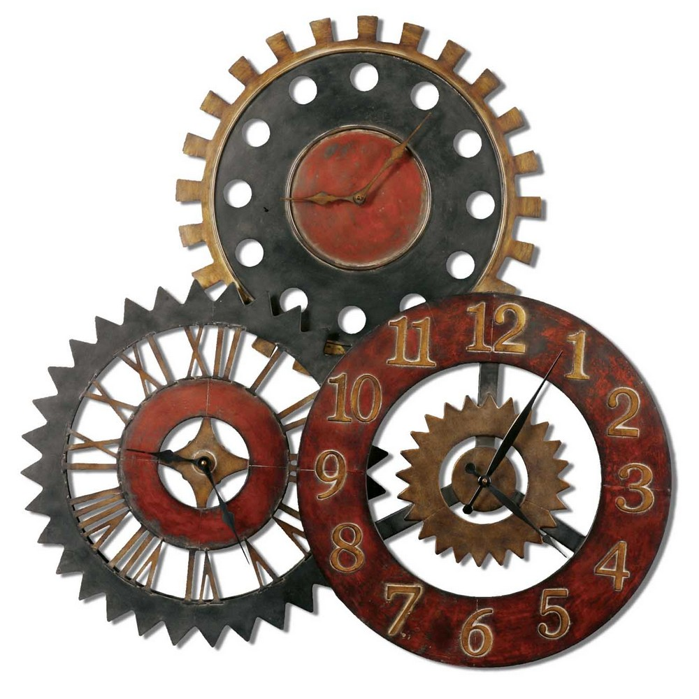 Wall Decor Gears : Rusty movements wall clock three different time zones