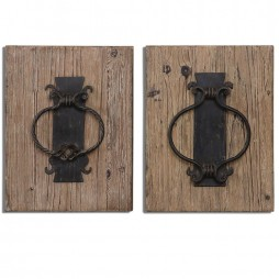 Rustic Door Knockers Wall Art S/2 7654
