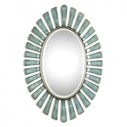 Morvoren Blue-Gray Oval Mirror 8141