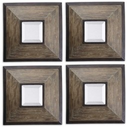 Fendrel Squares Wood Mirror Set/4 13817