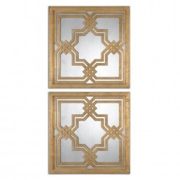 Piazzale Gold Square Mirrors S/2 13865