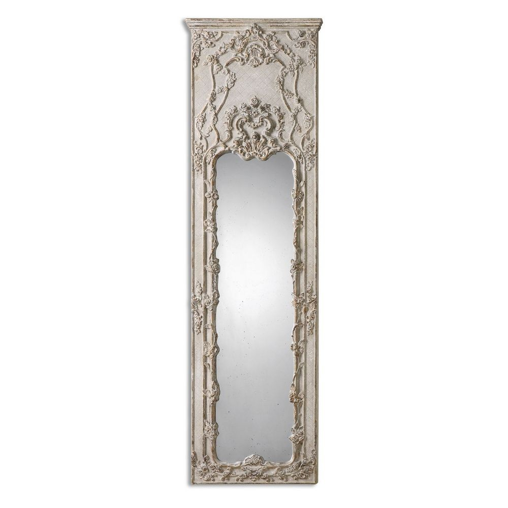 Home accessories castellana gray ivory leaner mirror 13914 for Leaner mirror