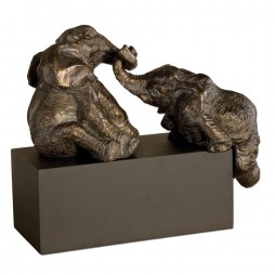 Playful Pachyderms Bronze Figurines 19473