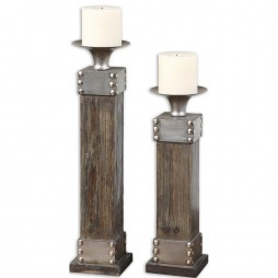 Lican Natural Wood Candleholders