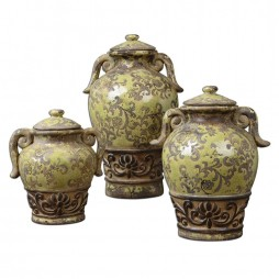 Gian Crackled Green Containers