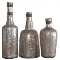 Lamaison Mercury Glass Bottles S/3 19753