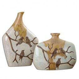 Pajaro Ceramic Vases S/2 19843