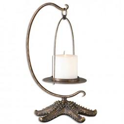 Starfish Antiqued Gold Candleholder 19934