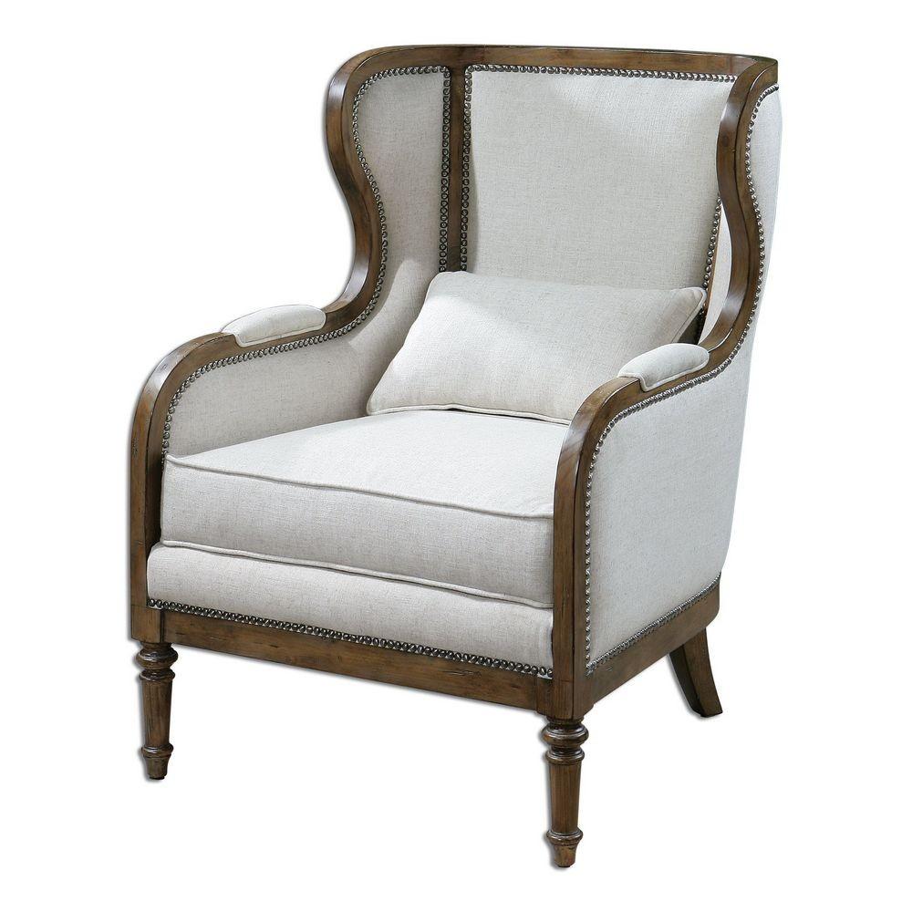 Accent Furniture Uttermost Neylan Linen Wing Chair