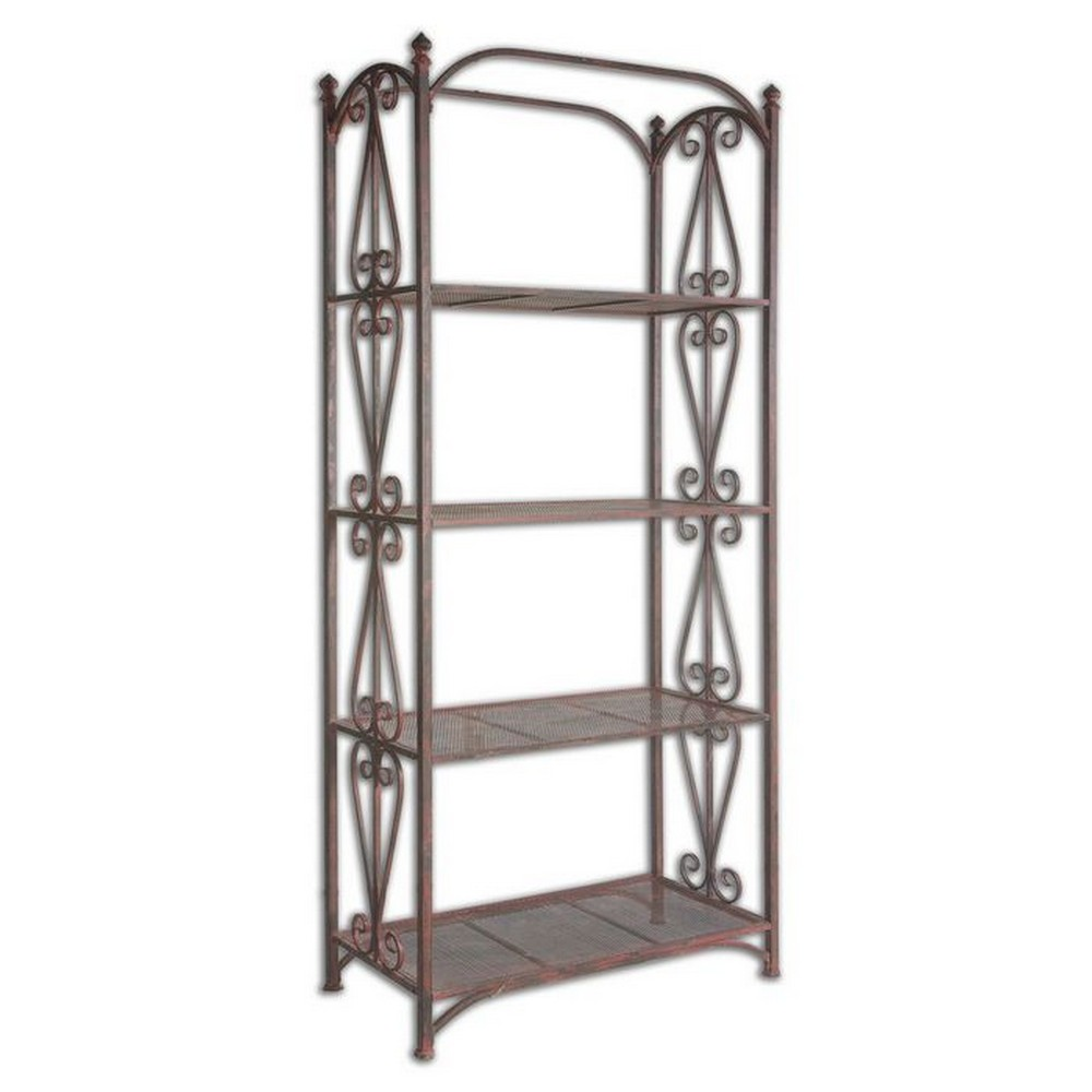 Accent furniture uttermost teyona metal etagere 24350 - Etagere metal industriel ...