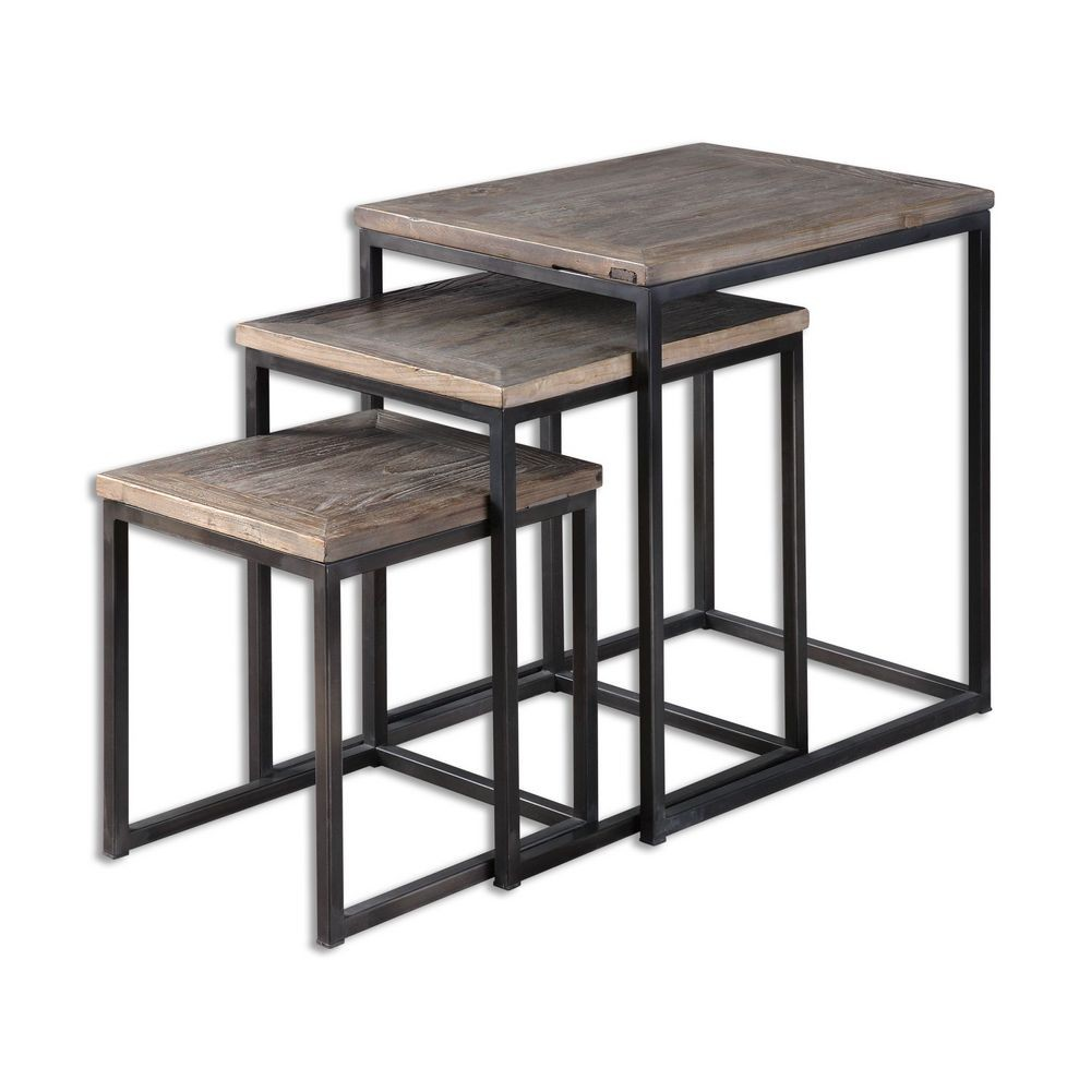 Wood Stacking Tables ~ Bomani wood nesting tables set