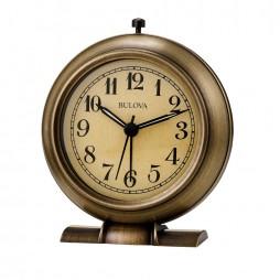 La Salle Metal Bedside Alarm Clock Antiqued Bronze Bulova B5024