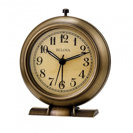 Battery-operated alarm clocks - La Salle Metal Bedside Alarm Clock Antiqued Bronze Bulova B5024