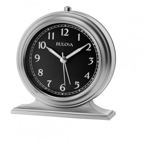 Benjamin Bedside Alarm Clock Satin Silver Bulova B5025