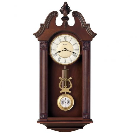 Bulova Walnut Ridgedale Chiming Wall Clock C4437