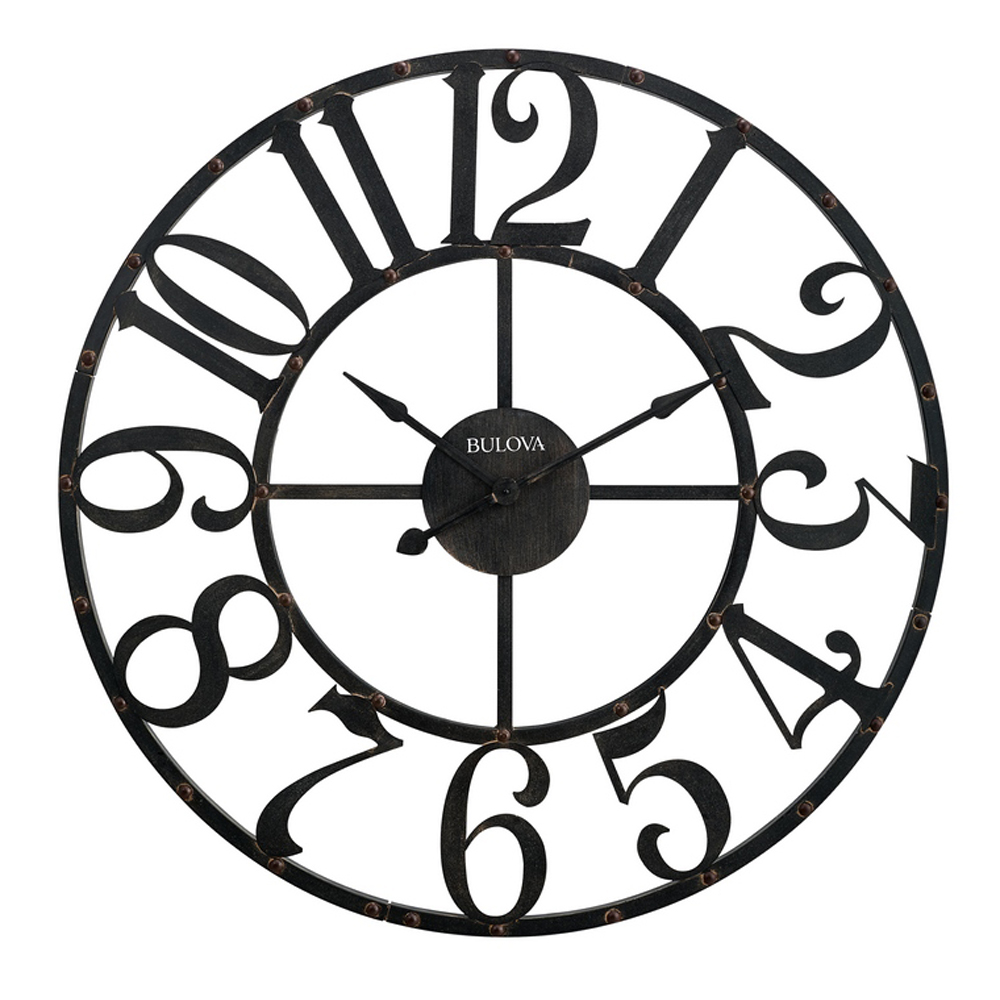 Wrought iron metal gabriel 45 oversize wall clock bulova c4821 amipublicfo Gallery