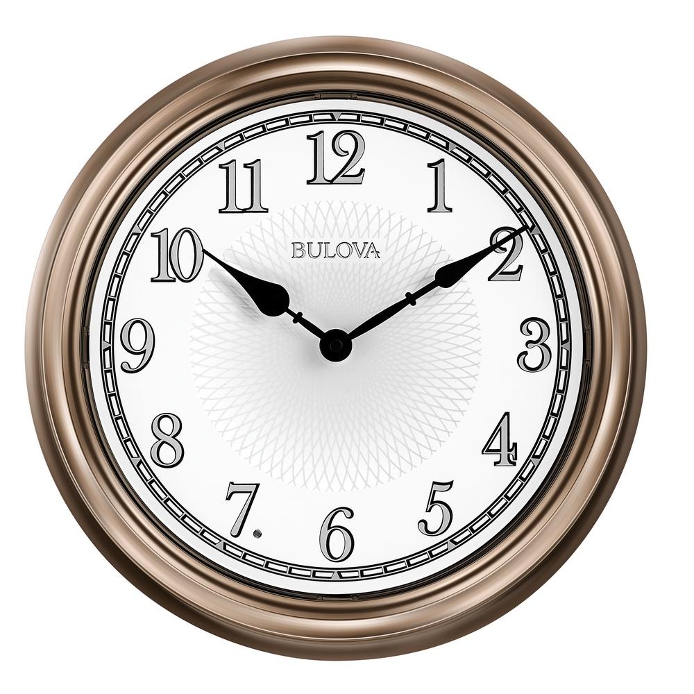 Bulova clocks mantel desk and bulova wall clocks clockshops 41off light time indoor outdoor wall clock bulova c4826 amipublicfo Images