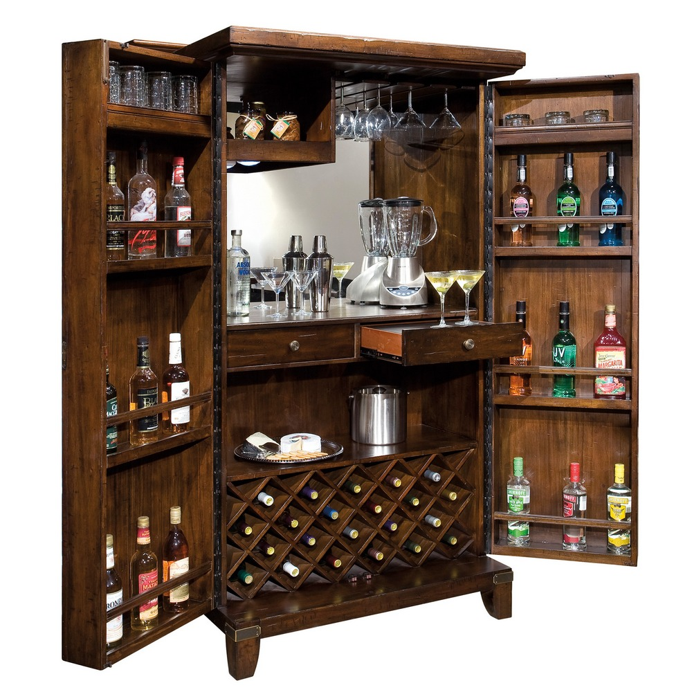 Wood Home Bar Furniture: Home Bar & Wine Cabinet Howard Miller Rogue Valley 695122