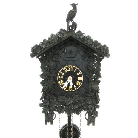 Arabella Black Arenga Wood Cuckoo Clock with 8 Day Movement 8227 - Closeup