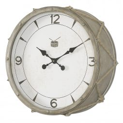 "Rope Snare Drum 21"" Wall Clock Uttermost 06429 - Side View"