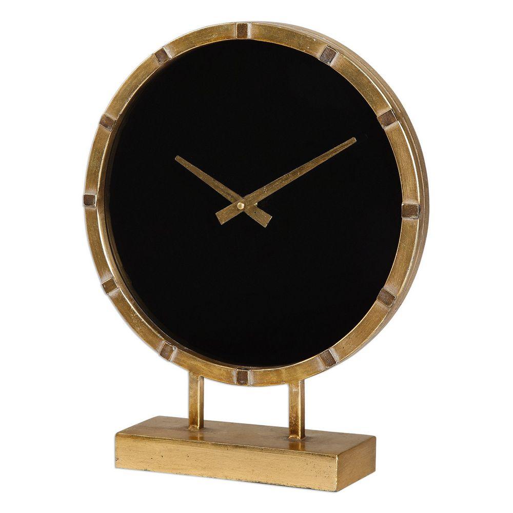 Aldo Gold And Black Table Clock Uttermost 06433