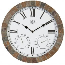 15 Inch Indoor / Outdoor Clock with Tile Case, Time, Temperature, and Humidity - Model # 1012-15