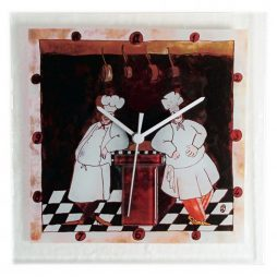 Two Chefs Square Glass Kitchen Wall Clock - River City Clocks GCOOK-10