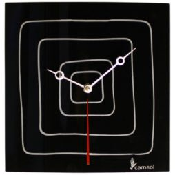 Black And White Square Glass Modern Wall Clock - GBS-09