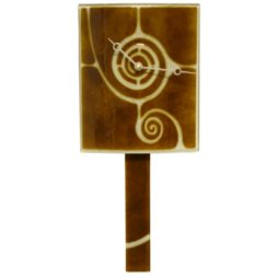 Curved Brown Glass Clock with Pendulum and Swirl Design - GCB-17
