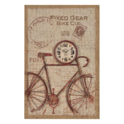 Nixon Printed Burlap with Bicycle and Wall Clock - 41081