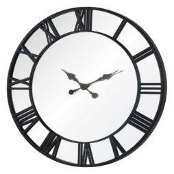 "Rafferty 32"" Mirror and Black Metal Large Wall Clock - 41130"