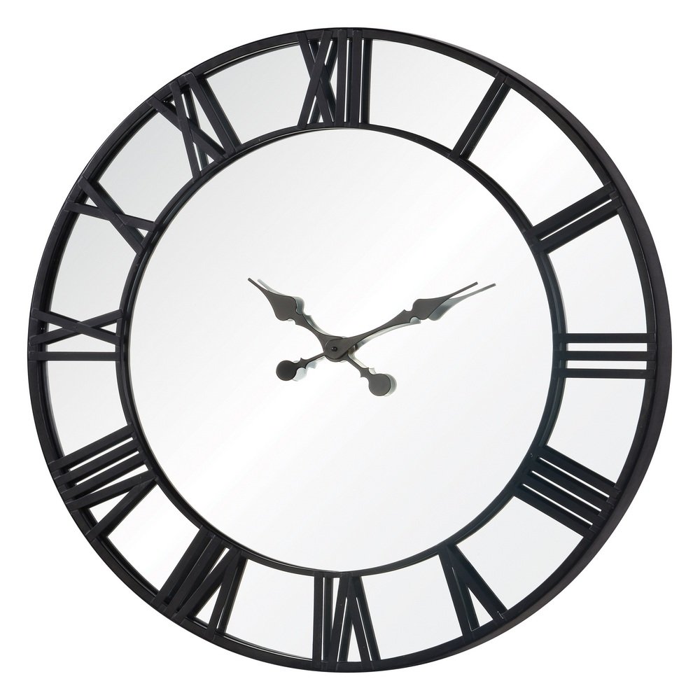 Rafferty 32 mirror black metal large wall clock 41130 Oversized metal wall clocks
