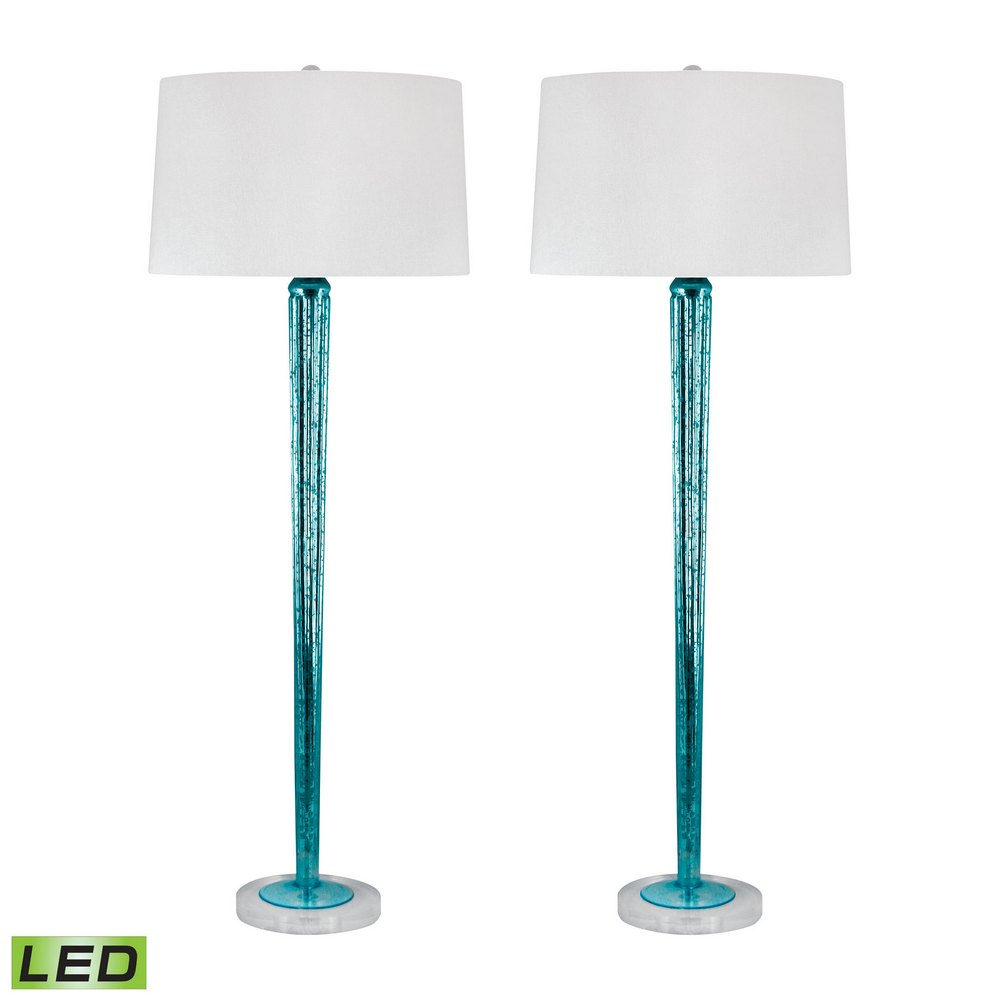 Mercury Glass Led Candlestick Lamps In Blue Set Of 2