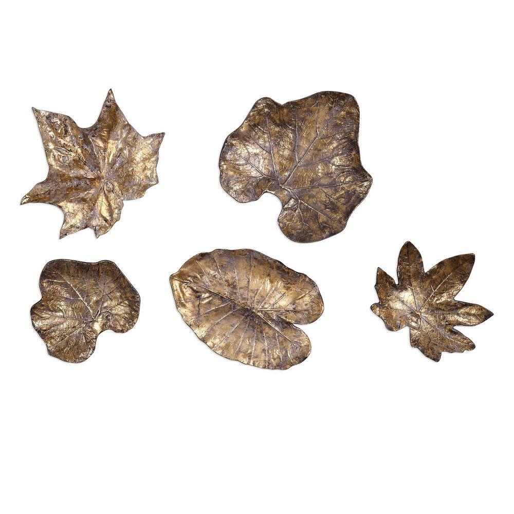 Wall Decor Set Of 5 : Uttermost bronze leaves wall art set  clock s