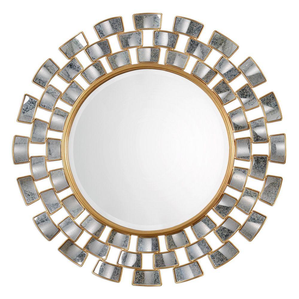 uttermost rachida round mirror clockshops